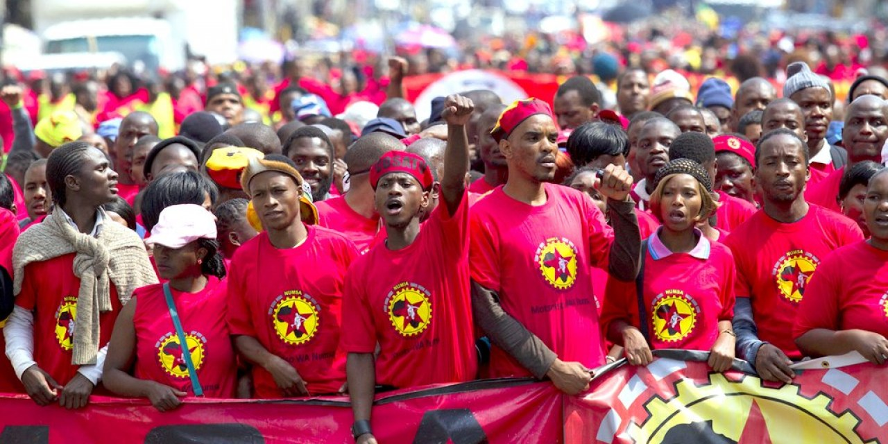 Members of the NUMSA march through the Durban central business district
